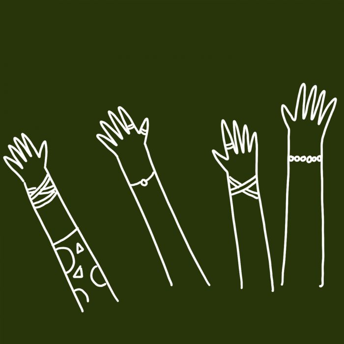 Illustration of four hands being held in the air